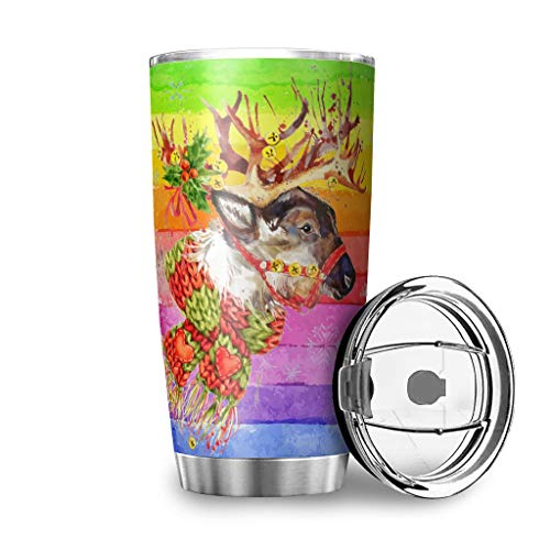 Stainless Steel Christmas Deer Tumbler Water Bottle Double Wall Vacuum Stain Resistant - Car Cup with Lid White 20oz