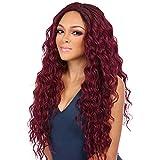 ZiQE Mujeres sintéticas pelucas de pelo largo y rizado de color rojo para Cosplay Fashion Halloween Party Fancy Dress 30'