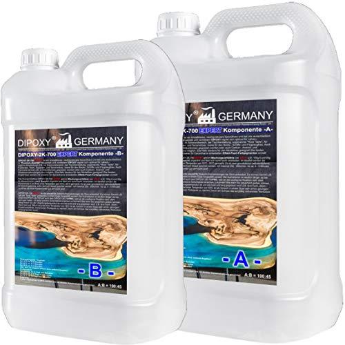 2,9 kg Resina epoxi 2C, hasta 15 cm, DIPOXY-2K-700EXPERT, Epoxy dos componentes Resina epoxi transparente para mesa, suelo, joyería, formas de acuario, UV