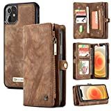 Zttopo Wallet Case Compatible with iPhone 12/12 Pro, 2 in 1 Leather Zipper Detachable Magnetic 11 Card Slots with Screen Protector for iPhone Case Wallet 6.1 Inch (Brown)