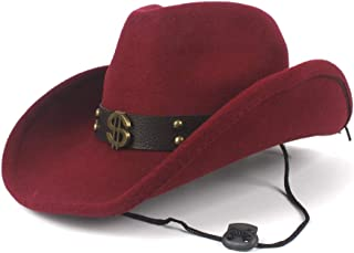 TX GIRL Cowboy Hat Women Men Wool Hollow Western Cowboy Hat for Gentleman Roll up Brim Sombrero Cap Dad Hat with Punk Belt Novelty Party Costumes (Color : Deep red, Size : 56-59cm)
