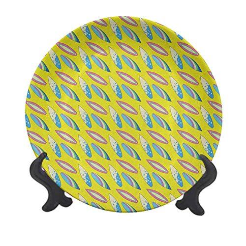 Tabla de surf de cerámica colgante de 15,24 cm, para actividades de verano, ocio, temática de playa, surf, juvenil, plato decorativo de cerámica para mesa de comedor, catering