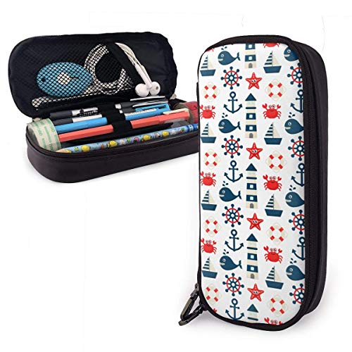 Pencil Case Pen Bag Sailboat Crab Fish Lighthouse Pencil Case, Large Capacity Pen Case Pencil Bag Stationery Pouch Pencil Holder Pouch with Big Compartments