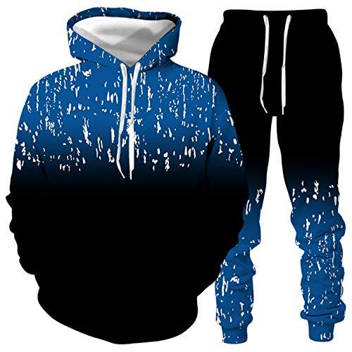 DREAMING-Otoño e invierno Pullover traje deportivo 3D palm graffiti suéter para hombres y mujeres con capucha Top de manga larga + pantalón traje casual 4XL