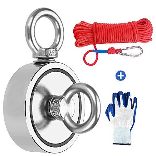 Magnetfischen, Angelmagnet mit 20m Seil und einem Paar Handschuhen - 420kg Magnetzugkraft - Neodym Magnet extra stark zum Magnetfischen - Starker Ösenmagnet Ø 75mm