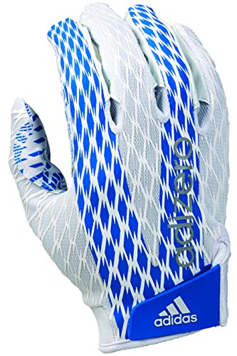 adidas Adizero 4.0 Adult Football Receiver's Gloves, White/Royal, 4X-Large