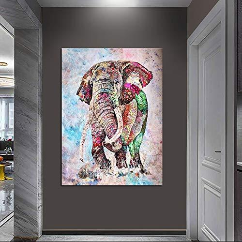 ganlanshu Elefante Arte de Pared Pintura sobre Lienzo para la decoración del hogar Fotos Arte de la Pared Cartel e Impresiones,Pintura sin Marco,70x100cm