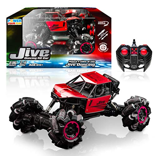 Power Your Fun Jive RC Car - AWD Remote Control Monster Truck, 4x4 RC Truck, 1:16 Rechargeable RC Crawler Stunt Car Dancing Remote Control Truck for Kids with Rechargeable RC Toy Battery (Red)