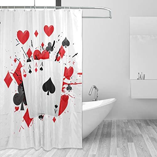 FANTAZIO Duschvorhang Four Aces Poker Card Polyester Badvorhang mit dicken C-förmigen Haken für Badezimmer, wasserdicht, langlebig & super wasserdicht 152,4 x 182,9 cm