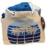 Stardust Sustainables Large Jute/Cotton Cloth Beach Bag Tote (Palm Trees) Eco-friendly, Washable,...