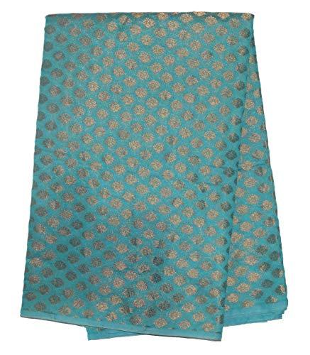 Maalavya Women's Designer Golden Butti Print Chanderi Fabric (MF096) Free Size (Firozi, 2.5 Mtr)