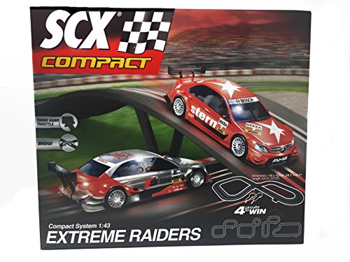 SCX Extreme Raiders 1:43 Scale Slot Car Set With AC Adaptor and 2 Cars