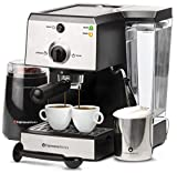 EspressoWorks 7 Pc All-In-One Espresso Machine & Cappuccino Maker Barista Bundle Set w/ Built-In Steamer & Frother (Inc: Coffee Bean Grinder, Milk Frothing Cup, Spoon/Tamper & 2 Cups), Stainless Steel (Silver) (Renewed)