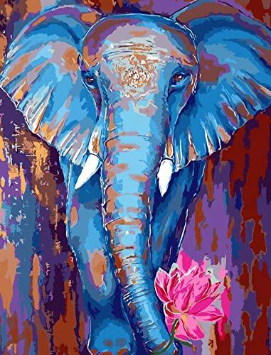 TONZOM Pintar por Números Elefante Azul, Kit de Pintura por Números para Adultos Niños Principiantes 16 x 20 Pulgadas Pintura en Lienzo Sin Marco
