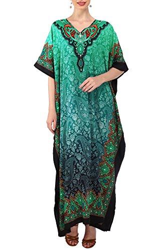 Miss Lavish London Frauen Damen Kaftan Tunika Kimono freie Größe Lange Maxi Party Kleid für Loungewear Urlaub Nachtwäsche Strand jeden Tag Kleider #101 [Teal EU 52-56]