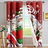 chaqlin Weihnachtsmann-Vorhang, Wohnzimmer, Kinderzimmer, Schlafzimmer, lichtreduzierende Vorhänge,...