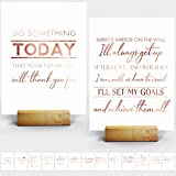 Inspiring Desk Decor for Office - 15 Rose Gold Stamped Inspirational Desk Art Cards + Size 7x5' inches - Perfect Office Decor for Women Desk by Merry Expressions