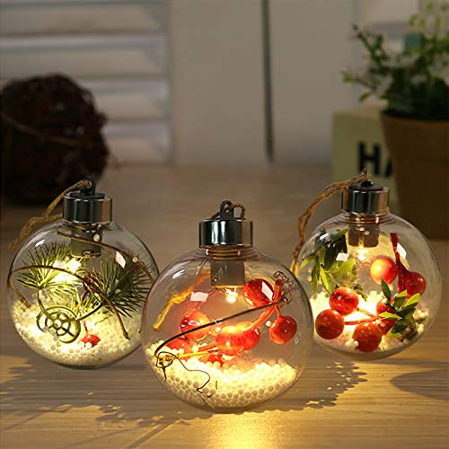 Christmas Tree Luminous Ball Transparent Fillable Plastic Ornaments Christmas Spherical Decoration Hanging Lights Led Ball Lights for Christmas,Party Decorations (3 Pack(A))
