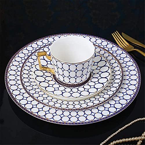 Juego de Platos, Conjuntos de cena de cerámica Conjunto de porcelana Sencillez clásica Sencillez Placa de cerámica Bone China Occidental Plato Europeo Estilo Steak Placa de bocadillo Placas de cena de