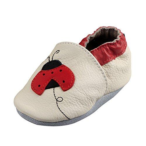 FREEFISHER Chaussures Souples Cuir Doux pour Enfant Coccinelle 12-18 mois