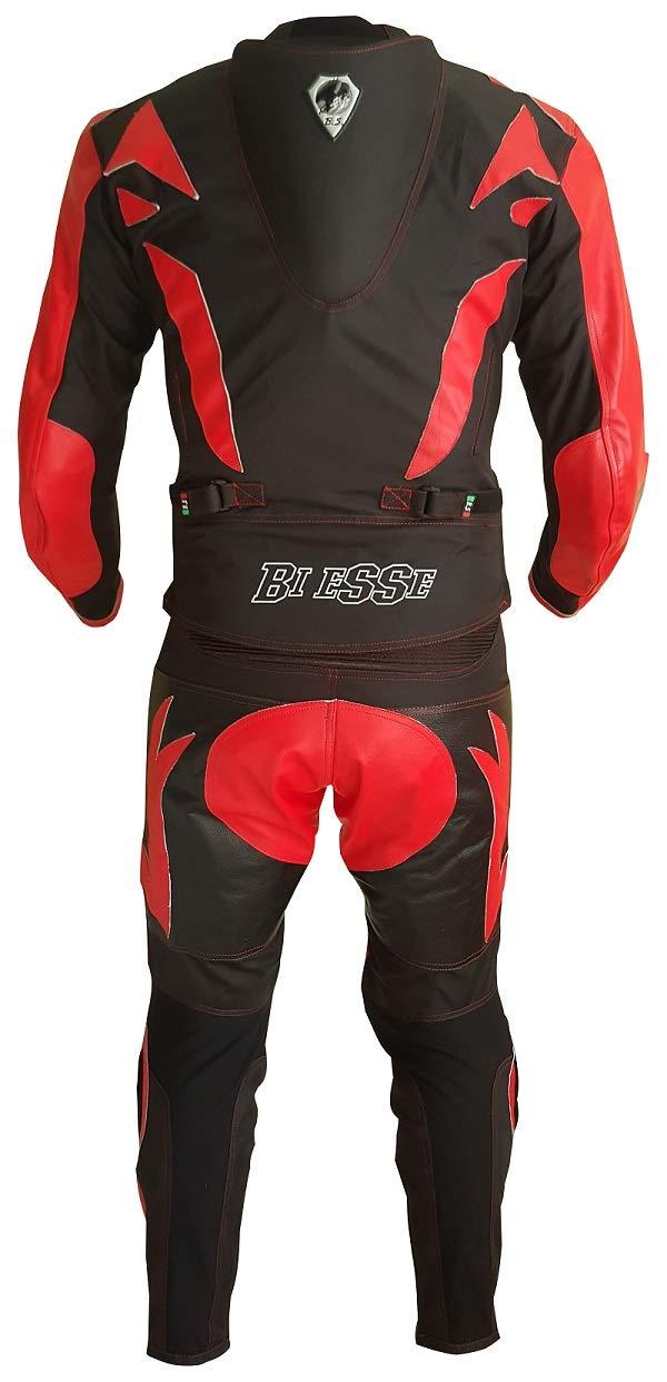 Biesse S, azul//negro chaqueta y pantal/ón Traje de moto para adulto de piel y tela con protecciones CE divisible en 2 piezas ajustable