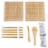 9Pcs/Set Bamboo Sushi Making Kit, 2 Rolling Mats 5 Chopsticks 1 Paddle 1 Sushi Blade, Set completo de sushi para principiantes