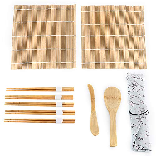 Sushi Making Kit - 9 Stks/Set, Bamboo Sushi Maker - Inclusief 2 Rolling Mats + 5 Chopsticks +1 Paddle +1 Sushi Blade - Voor Party, An Outing, Lunch