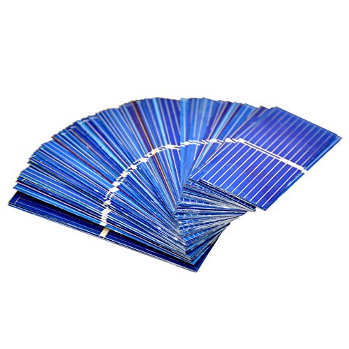 """AOSHIKE 100pcs 0.5V 400mA Micro Mini Solar Cell for Solar Panels 52mmx 19mm/2''x0.75"""" Polycrystalline Silicon Photovoltaic Solar Cells Sun Power for DIY Cell Phone Charger"""