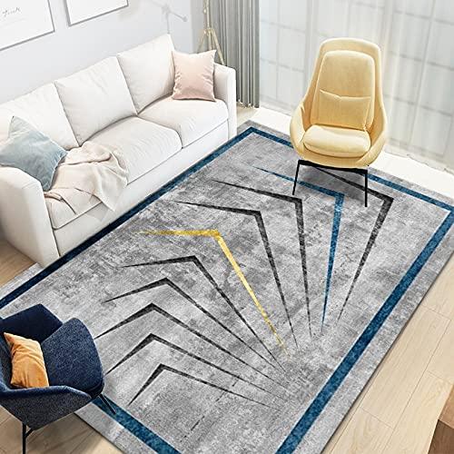 SunYe Tappeto Blu Semplice E Fresco Color Block Irregolare Antiscivolo Lavabile Adatto per Hotel Soggiorni Centri Commerciali Zerbini Rettangolari