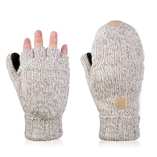 Damen Herren Strickhandschuhe mit Klappdeckel, Winter-Wolle, Flockierung, warm, gestrickt, fingerlos, Damen, Cream-Coloured, Einheitsgröße