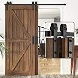 WINSOON 5FT Single Track Bypass Barn Door Hardware Double Doors Kit, Heavy Duty Sliding One Track Antique Roller for Cabinet Closet Fit Double 30' Wide Door