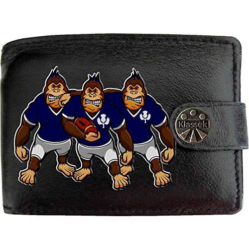 Schottland Rugby Gorilla Schottische Distel Karikatur Shirt Bild auf KLASSEK Marken Herren Geldbörse Portemonnaie Echtes Leder RFID Schutz mit Münzfach Zubehör Geschenk mit Metall Box