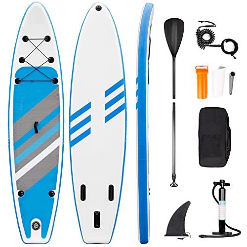Tabla de Paddle Surf Hinchable Sup Inflatable Stand up Paddle Board PVC con Bomba de Doble, Remo Ajustable, Caja de reparación, alerón, Bolsa de Transporte (RY-307)