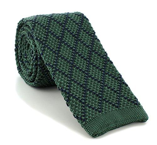 Michelsons of London Vert/Marine diamant soie tricoté Skinny cravate de