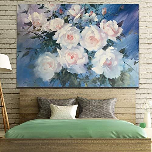 Weiße Blume Plakat Leinwand Malerei Dekoration Rahmen Wandkunst Wohnzimmer Dekoration Malerei Poster rahmenlose Malerei 40cmX60cm