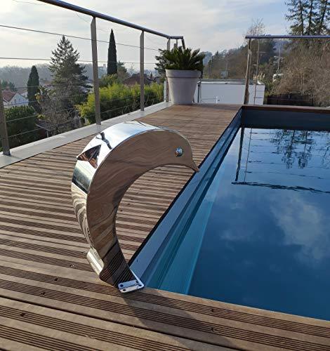Cascada Inox 316 - Fuente de piscina para estanque, modelo delfín con huevo y alero, altura 41 cm, ancho 16,8 cm