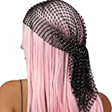 Women Girls Mesh Rhinestone Headbands Glitter Hollow Out Wide Hairbands Elastic Turban Kerchiefs Crystal Headscarfs Wrap for Rave Party Festival Nightclub