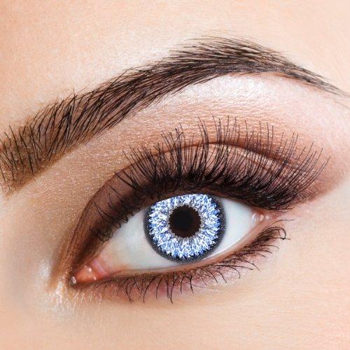 aricona Kontaktlinsen - Leuchtend blaue Kontaktlinsen ohne Stärke - Farbige Beauty Kontaktlinsen hellblau, 2 Stück