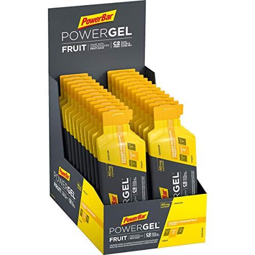 PowerBar PowerGel Fruit Mango Passionfruit 24x41g - High Carb Energie Gel + C2MAX und Natrium + 50mg Koffein