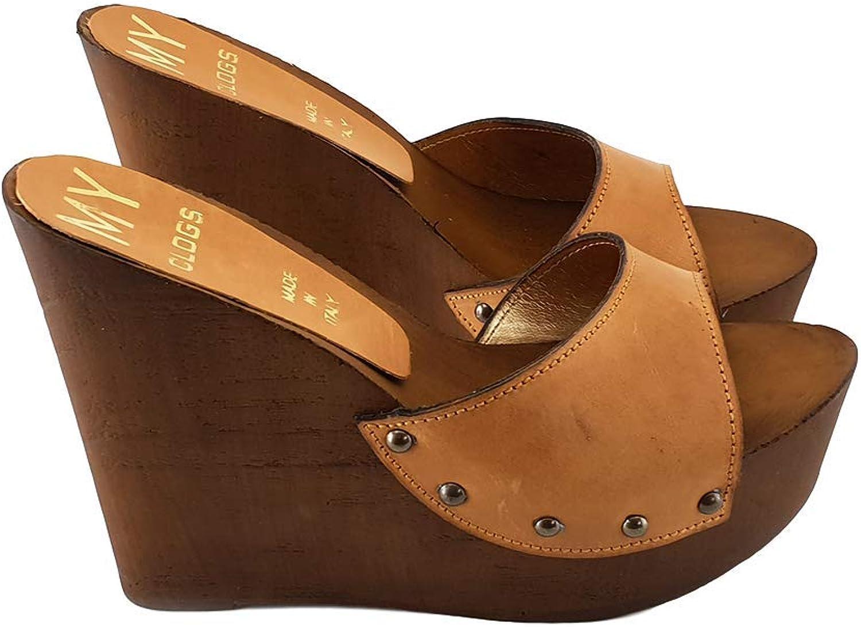 Kiara shoes Women's Wedge in Leather Heel 13 - MYZ31901 Cuoio