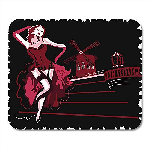 Mousepad danser Franse Abstract vrouw in Cabaret Moulin Rouge Paris Show Vintage muismat 25X30cm