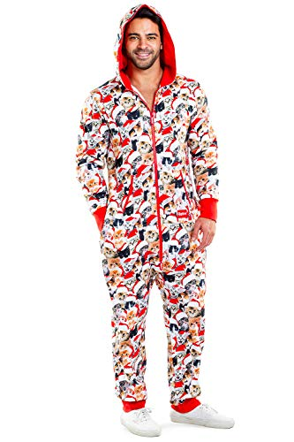 Tipsy Elves Cozy Unisex Meowy Catmus Ugly Christmas Jumpsuit - Adult Cozy Christmas Onesie: Large