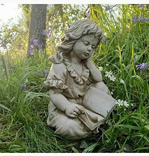 Statue Lesendes Mädchen | Rekonstruierter Stein, klassischer Beton, Garten-Ornament