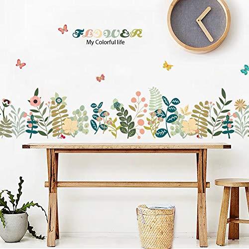 WandSticker4U®- Stickers muraux enfants FLEURS & HERBE (169x 45 cm) I colorés plantes papillon I autocollant sticker mural pour salon chambre d'enfant filles cuisine meubles adulte ado