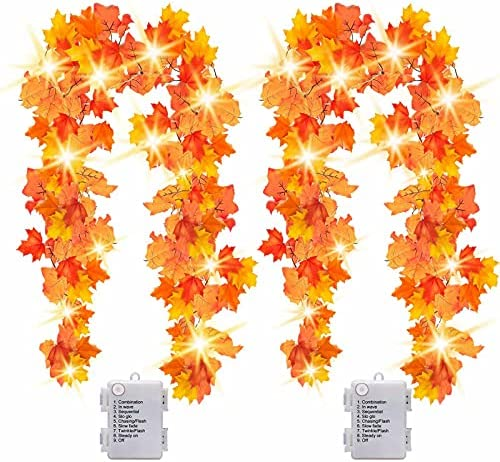 [2-Pack]14.7ft Thanksgiving Decorations Autumn Garland – Thanksgiving Decor Fall Garland Lights with 40 LED – 8 Blinking Modes – Waterproof
