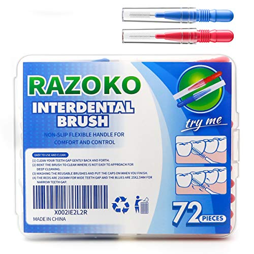 Interdental Brush, Flossing Head,Easy Use Tooth Cleaning Tool (72 Count)