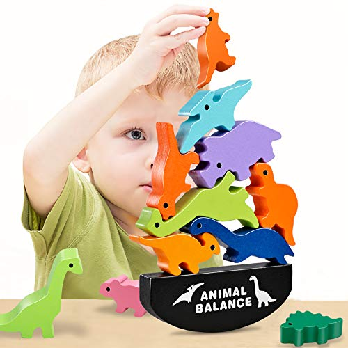 HahaGift Toddler Toys for 2 3 4 5 6 Year Old Boys Gifts, Wooden Stacking Dinosaur Toys for Kids 3-5 Year Old Girls Toys, Montessori Toys for 2 3 Year Old Boys Christmas & Birthday Gifts!