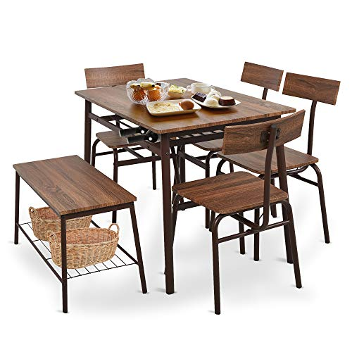 Dporticus 6 Piece Industrial Dining Set for Kitchen Dining Room w/Storage Rack,Wooden Dining Table,4 Ergonomic Chair & 1 Bench,Stainless Steel Frame,Brown