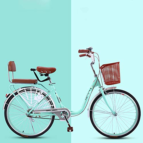 BEIGOO 20/24/26' Retro Bicycle with Basket,Womens Comfort Bikes Beach Cruiser Bike,Single Speed Bicycle High-Carbon Steel Frame,Seaside Travel Bicycle,Commuter Bicycle-B1-24inch