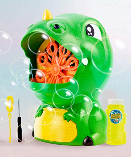 Gasince Bubble Machine Dinosaur Bubble Blower 500+ Bubbles Per Minute Automatic Bubble Maker for Toddlers Boys Girls Birthday Party Bubble Machine for Kids Outdoor Activities
